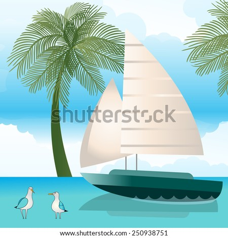 Sailboat gulls palm-trees sky and water - stock vector