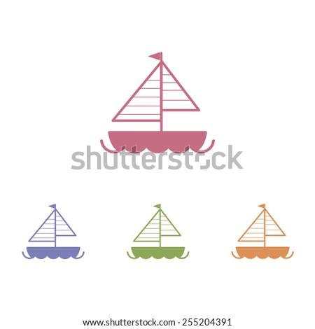 Sailboat icons - stock vector