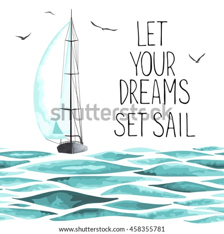 Sailboat in the sea and seagulls around. Objects made in the vector and isolated on white background. Watercolor imitation. Sport yacht, sailboat. - stock vector