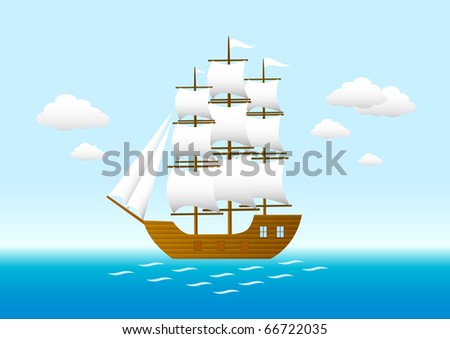 Sailboat on the blue sea - stock vector