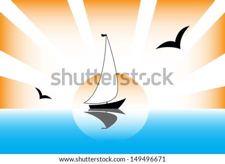 sailboat rays of the sun gulls sea landscape - stock vector