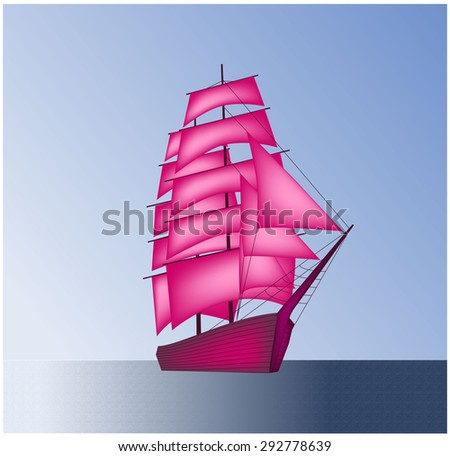 Sailboat, scarlet sails, vessel - stock vector