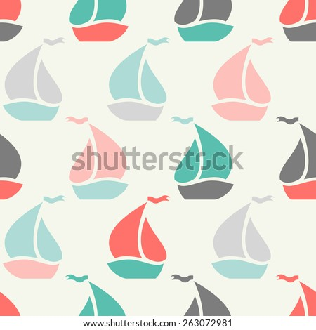Sailboat shape seamless pattern. Vector illustration for marine design. Vintage colors. - stock vector