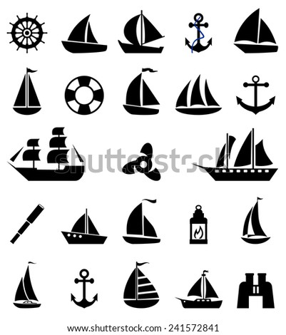 Sailboat symbol set. - stock vector