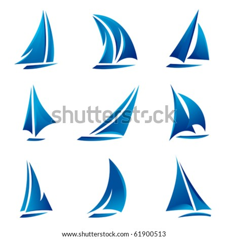 sailboat symbol set - stock vector