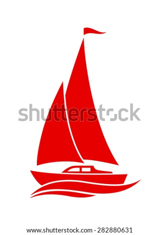 Sailboat vector icon on white background - stock vector