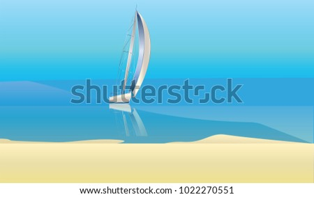 sailboat reflection blue sea sandy beach stock vector 1022270551