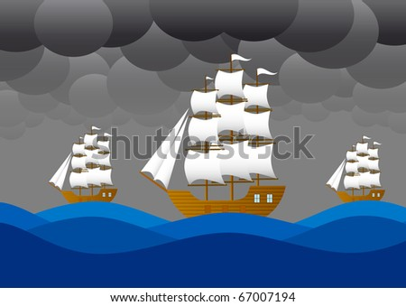 Sailboats  in storm - stock vector