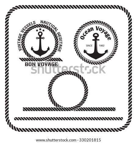 Sailing badges with anchor and rope border, loop - stock vector