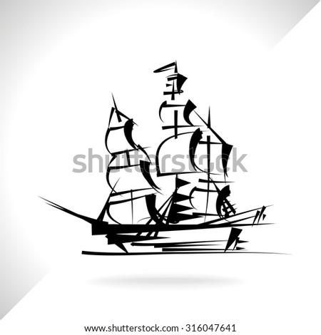 Sailing boat - stock vector