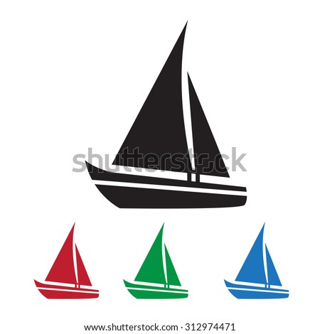 Sailing boat icon - stock vector