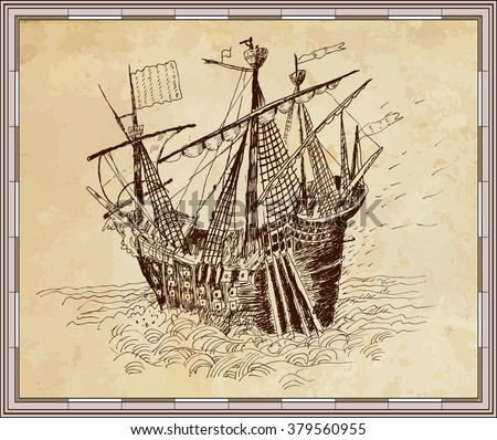 Sailing boat in the sea on old parchment background. Empty frame of a map. Geography, vintage - stock vector