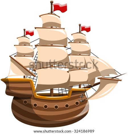 Sailing Boat Isolated - stock vector