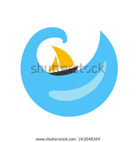 Sailing boat on the water, vector logo - stock vector