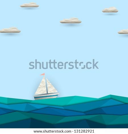 Sailing boat. Vector paper-art - stock vector