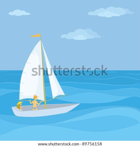 Sailing boat with a man and a woman floating in the blue sea. Vector - stock vector