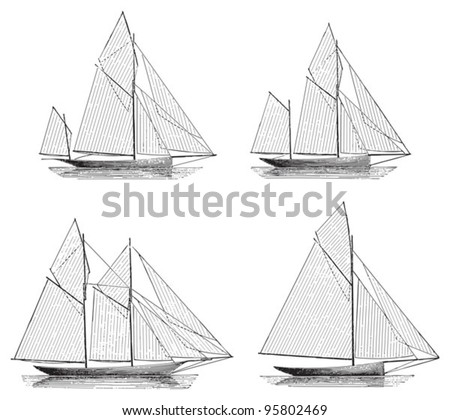 Sailing boat (Yawl - Ketch - Schooner - Sloop) / vintage illustration from Meyers Konversations-Lexikon 1897 - stock vector