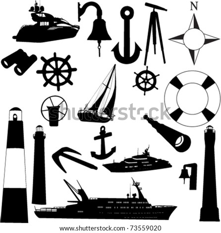 sailing equipments - vector - stock vector