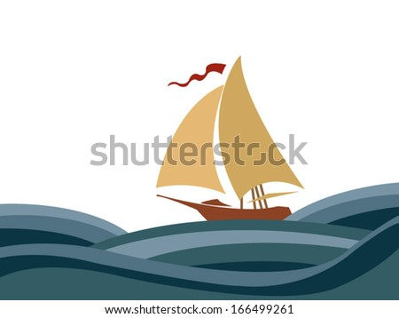 Sailing in the sea - stock vector
