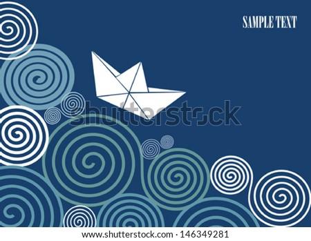 Sailing paper boat - stock vector