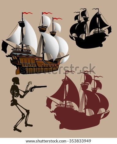 Sailing Pirate Ship with Sails Graphic Vector Image - stock vector