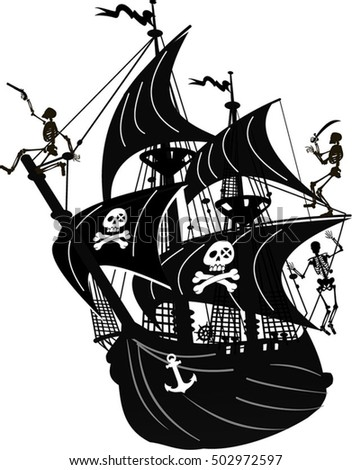sailing pirate ship sails graphic vector stock vector 502972597 rh shutterstock com pirate ship vector free pirate ship vector image