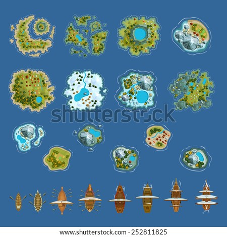 Sailing ship and islands top view. Vector design for app game user interface - stock vector