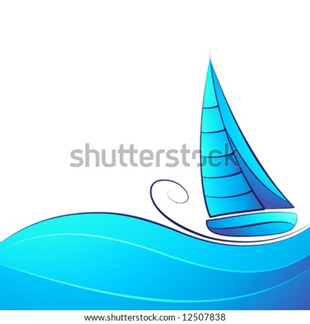 Sailing ship. Beautiful vector illustration.