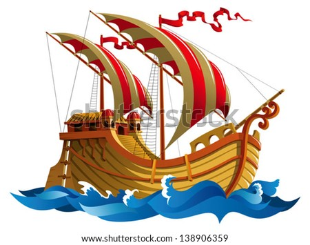 Sailing ship in oceanic waves, vector illustration - stock vector