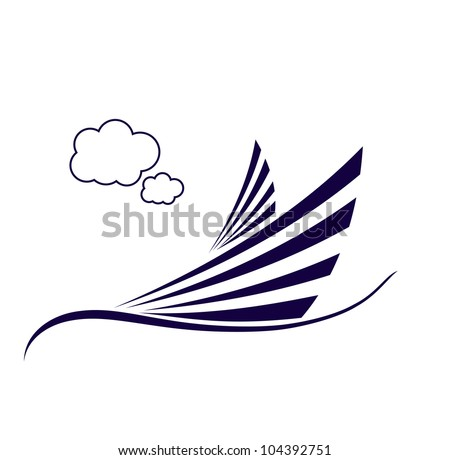 Sailing ship in the ocean with clouds vector format - stock vector