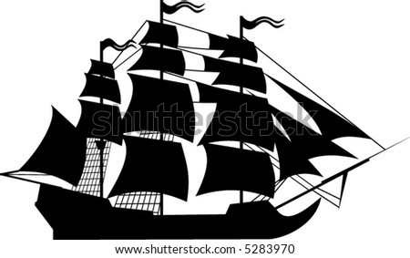 Sailing ship silhouette. Objects of this picture a separate. You can edit the colors and shapes.