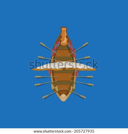 Sailing ship top view. Vector design for app game user interface - stock vector