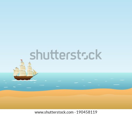 Sailing Ship. Vector background - stock vector