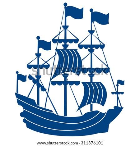 sailing ship vector illustration embossing logo stock vector rh shutterstock com ship vector art ship victoria 1846