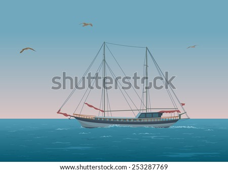 Sailing ship with red sails floating in the morning sea, the birds fly in the sky. Eps10, contains transparencies. Vector - stock vector