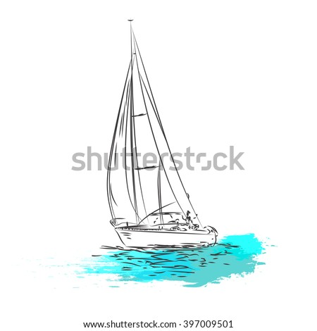 Sailing ship yachts with white sails in the open Sea. Luxury boats.Vector illustration - stock vector