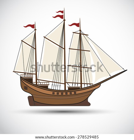 sailing ships color,Vector illustration