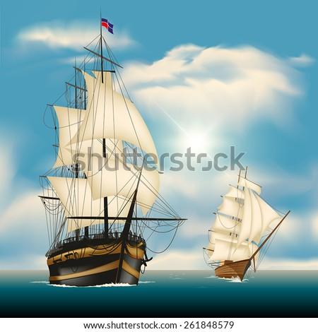 Sailing ships in vast sea. Vector illustration - stock vector