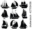 Sailing ships silhouettes collection, isolated objects on white background - stock vector