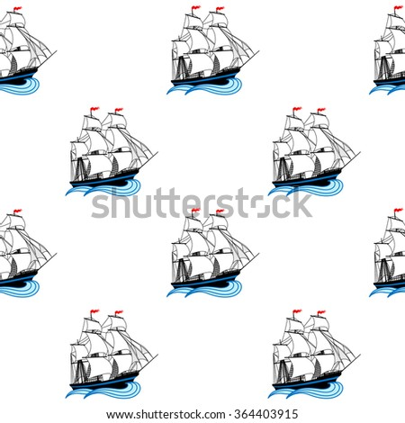 Sailing ships with white sails and red flags. Vector seamless pattern - stock vector