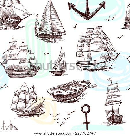 Sailing tall ships frigates brigantine clipper yachts and boat sketch seamless pattern vector illustration - stock vector