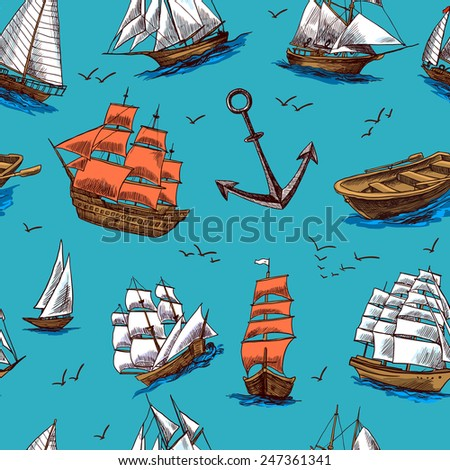 Sailing tall ships old wooden yachts boat and anchors colored sketch seamless pattern vector illustration