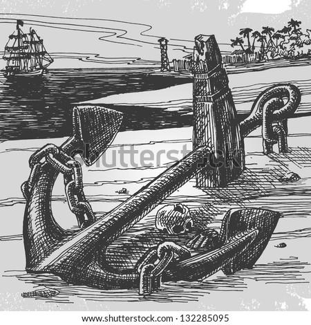 Sailing. Vector illustration - stock vector