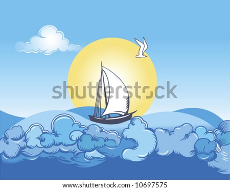 Sailing vessel in a sea wave on a background of the blue sky and sun - stock vector