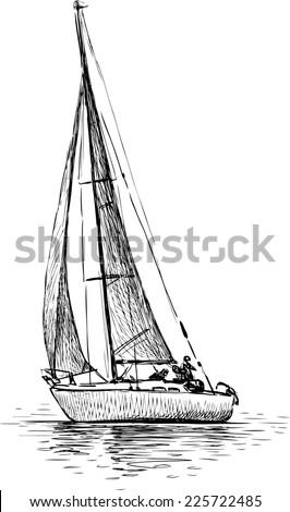 sailing yacht - stock vector