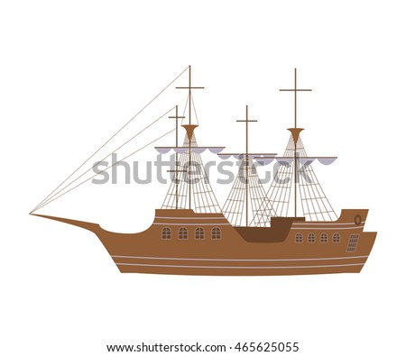Sailing yacht in modern flat design. Wooden tall ship isolated on white background for marine adventure or travel design, logo badge sailboat for label. Vector illustration eps10