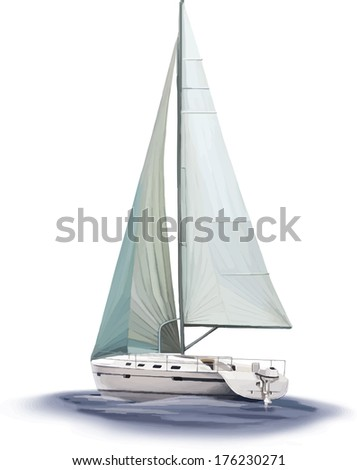 Sailing yacht race, Vector illustration Isolated on white