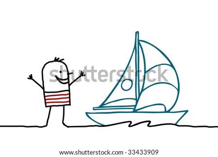 sailor and sailing - stock vector