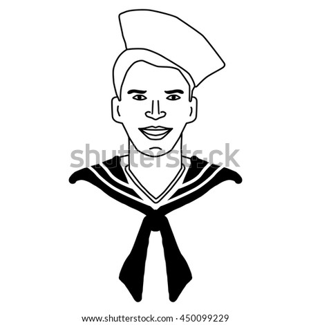 Sailor, navy, marine and nautical vector, icon, sketch.