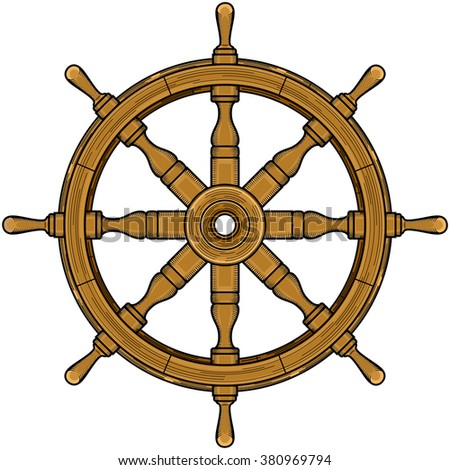Sailor Wheel Steering Brown Color Symbol Of And Sea Travel